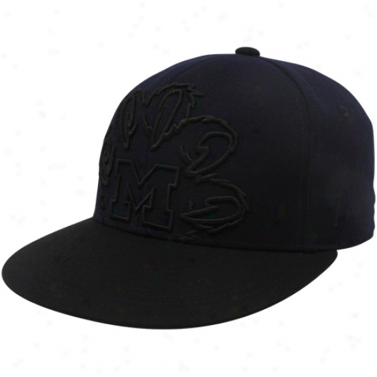 Zephyr Michigan Wolverines Navy Blue-black Outline Fitted Hat
