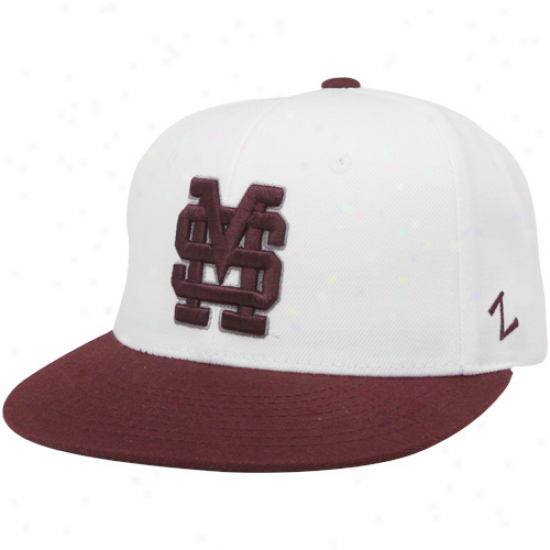 Zephyr Mississippi State Bulldogs White-maroon Logo Chopped 32/5 Fitted Hat