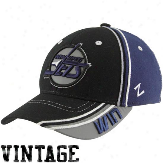 Zephyr Winnipeg Jets Black-navy Blue Throwback Slash Z-fit Hat
