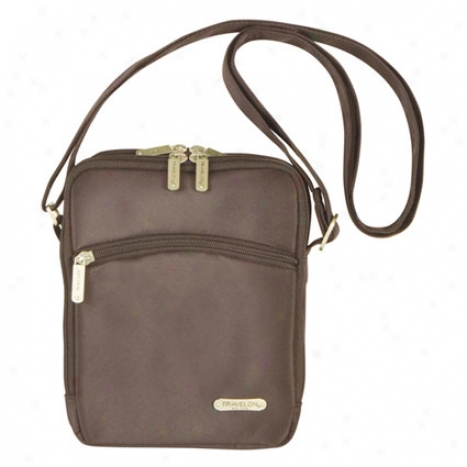 3 Compartmennt Expandable Shoulder Bag -  Chocolate Microfiber
