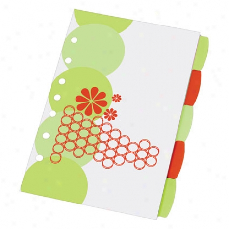 5.5 X 8.5 Mini Studio Collection Write-on 5tab Dividers By Avery - Retro Circles