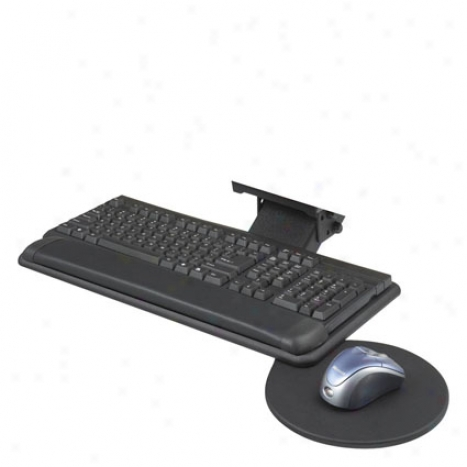 Adjustable Keyboard Platform With Swivel Mouse Tray By Safco - Black