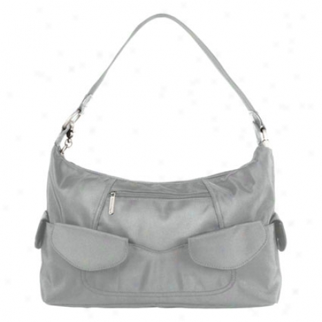 Anti-theft Pocket Hobo Bag -  Gray Nylon