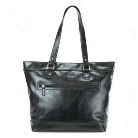 Ashley Single Gusset Top Zip Computer Tote - Black