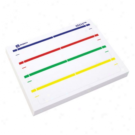 Assorted File Folder Label Pad - 1/3 Cut - Melancholy Top Bar, Red To Shoal, Green Top Bar, Yellow Top Bar