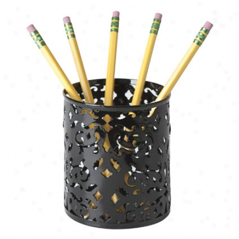 Brocade Pencil Cup By Design Ideas - Black