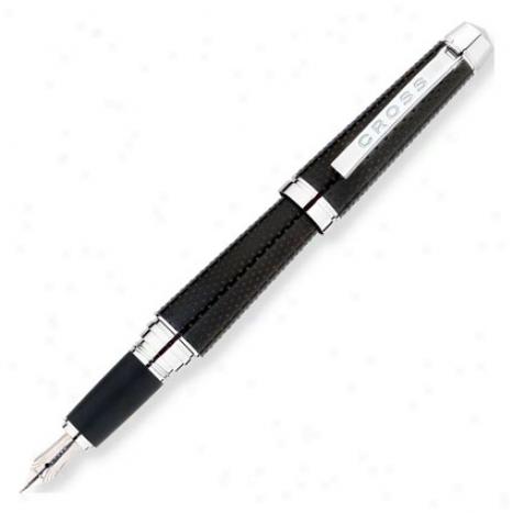 C-series Fountain Pen Medium W/ Rhodium Plated Solid 18kt Gold Nib By Cross - Carbon Dark