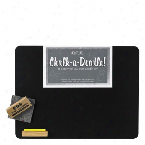 Chalk-a-doodle Placemat By O.r.e. Originals - Black