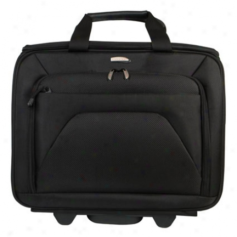 Checkpoint Friendly Two-compartment Wheeled Computer Case - Black Nylon