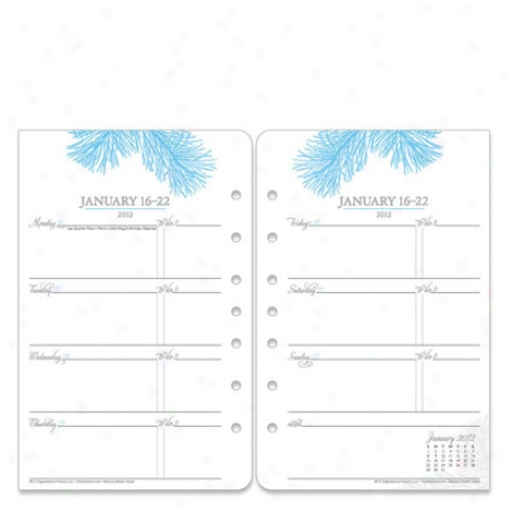 Classic Botanica Ring--bound Weekly Planner Refill - Jan 2012 - Dec 2012