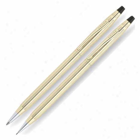 Classic Century Ballpoint Pen & Paint Set Personalized By Cross - Gold Filled/rolled Gold