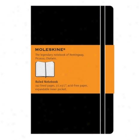 Classic Hard Cover Notebook Ruled Pocket By Moleskine - Black