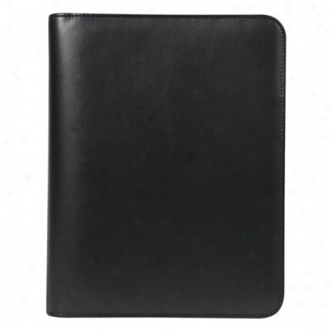 Classic Simulated Leather Zipper Binder - Black