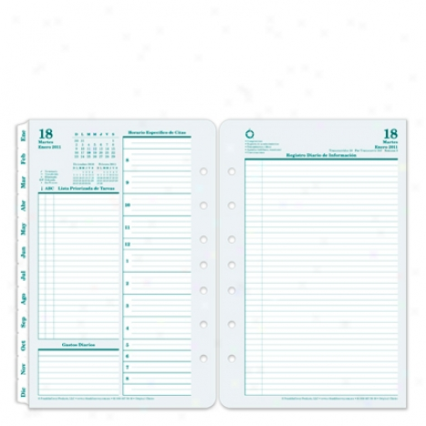 Classic Spanish Original Ring-bound Daily Planner Refill - Jan 2012 - Dec 2012