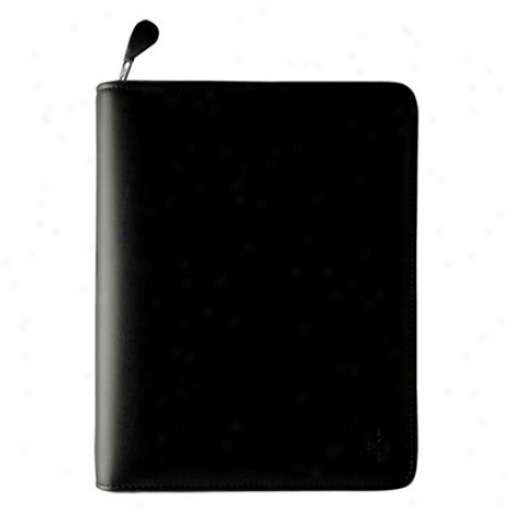 Compact Simulated Leather Zipper Binder - Black