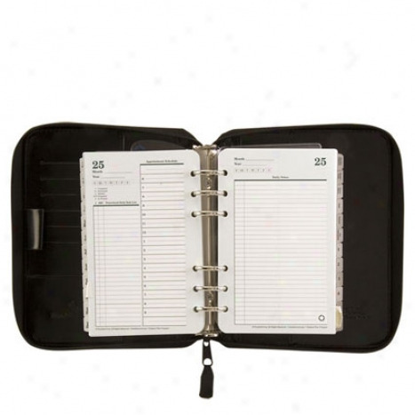 Compact Vinyl Zipper Binder W/undqted Planner Bundle - Black
