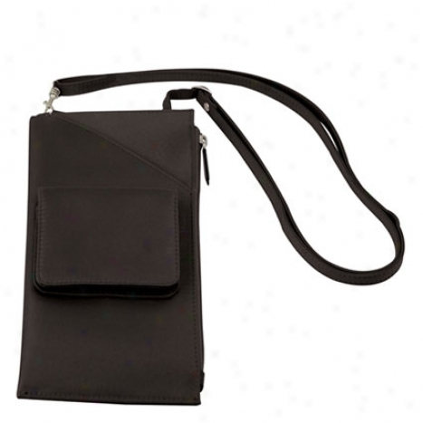 Cross Body Travel Wallet -  Black Microfiber