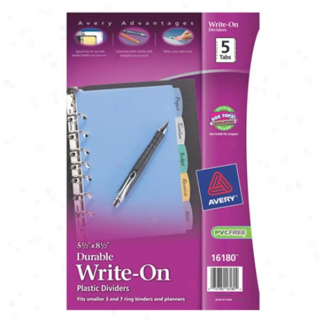 Durable Write-on 5 Tab Universal Punch 8.5 X 5.5 Plastic By Avery - Multi-colored