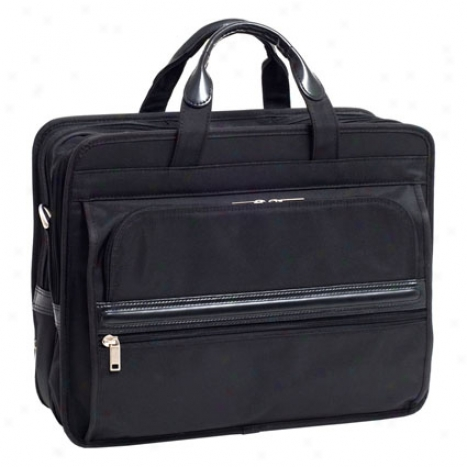 Elston Nylon Double Compartment Laptop Case By Mcklein - Black