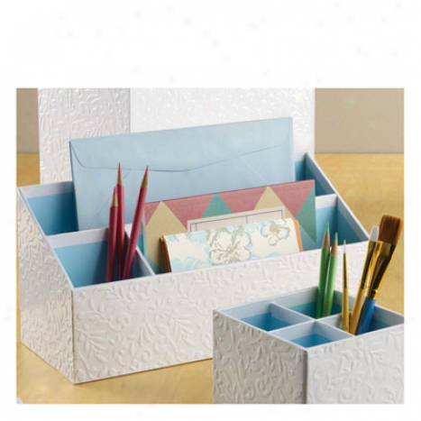 Flora Desk Organizer At Draw Ideas - White/blue