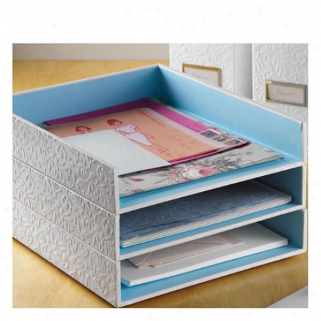 Flora Letter Tray By Intention Ideas - White/blue