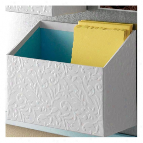 Flora Stuff Bin By Design Ideas - White/blue