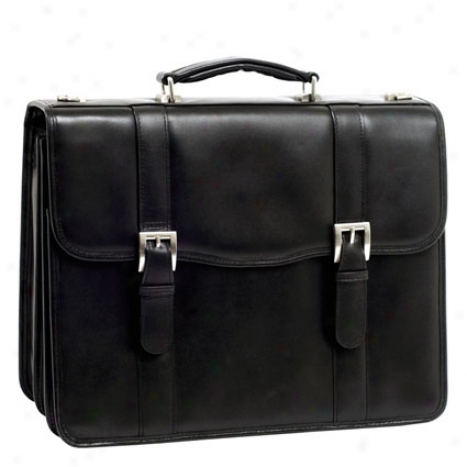 Flournoy Leather Double Compartment Laptop Case From Mcklein - Black