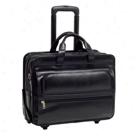 Franklin Leather 2-in-1 Removable Wheeled 17 Inch Laptop Case By Mcklein - Black