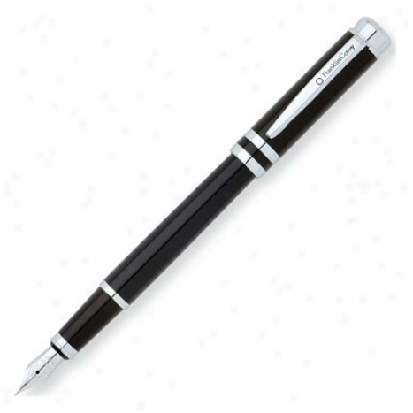 Freemont Fountain Pen Med Point By Franklincovey - Deco Black/crhome