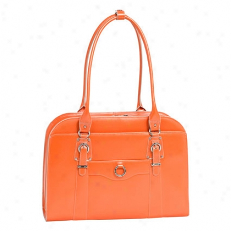 Hillside Leather Ladies Briefcase By Mcklein - Orange