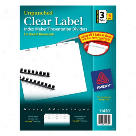 Index Maker Dividers, 3 Tab Unpunched White, 5 Sets