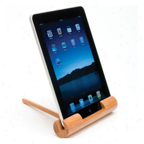 Ipad Holder Round Base & Dowel By Lipper Internationzl - Bamboo
