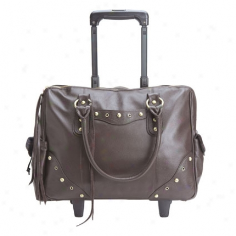 Katarina Rolling Travel/laptop Tote By Gogovoysge - Chocolate Pebbled Leather