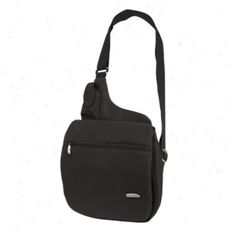 Large Mdssenger-style Shoulder Bag -  Black Microfiber