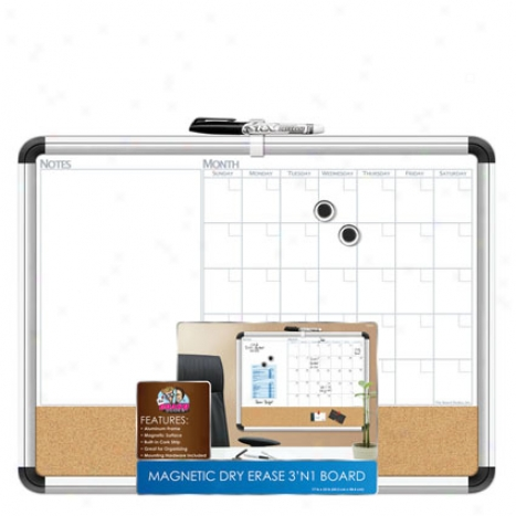 Magnetic Dry Erase 3 N 1 Board Metal Frame 17 X 23 By Board Dudes