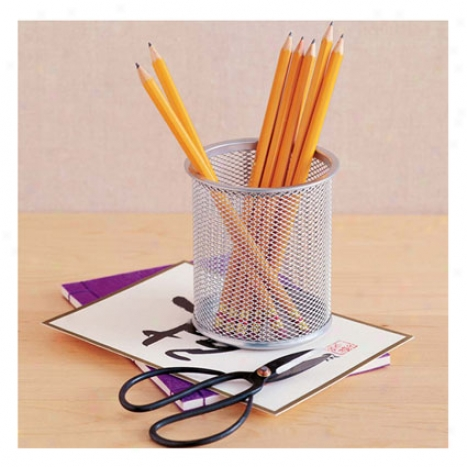 Mesh Pencil Cup By Design Ideas - Silver