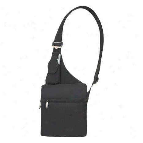 Messenger Style Shoulder Bag -  Black