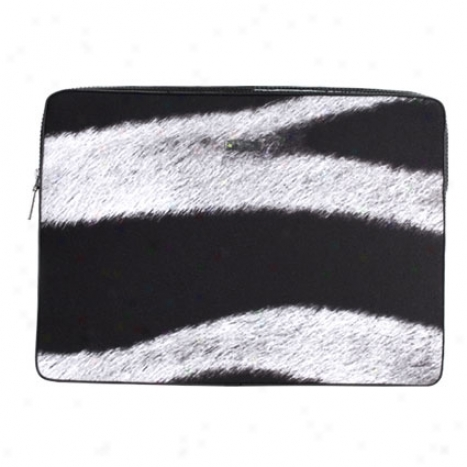 Microfiber Animal Print Sleeve For 15 Inch Mac Book Pro By Abbi - Zebra