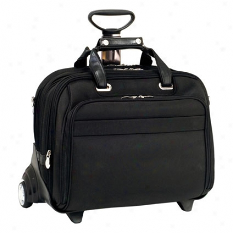 Midway Nylon Fly-through Checkpoint-friendly 2-inn-1 Removable Wheeled 17 Inch Laptop Case By Mcklein - Black