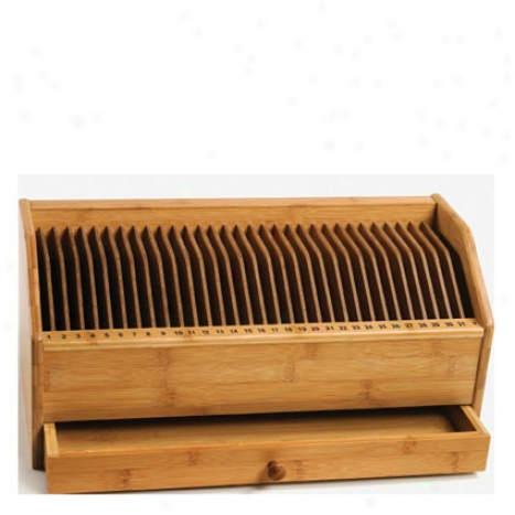 Monthly Bill/invoice Organizer W/ Drawer By Lipper International - Bamboo