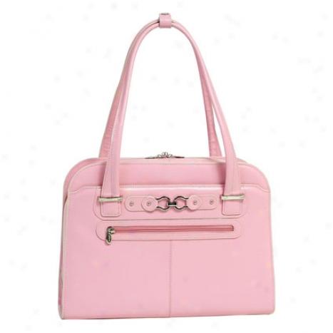Oak Grove Leather Ladies Briefcase By Mcklein - Pink