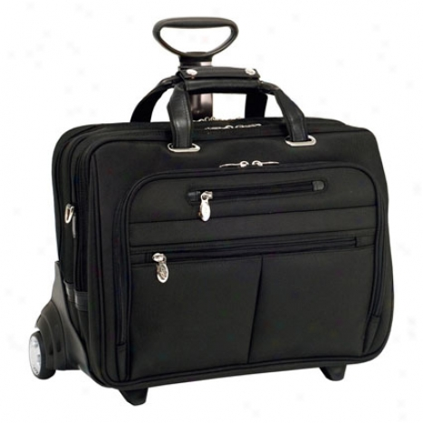 Ohare Nylon Fly-through Checkpoint-friendly 2-in-1 Removable Wheeled 17 Inch Laptop Case By Mcklein - Black