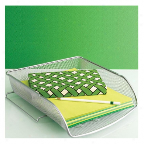 Opus Stackable Letter Tray Face Load By Design Ideas - Silver