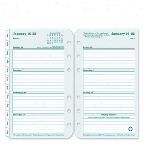 Pocket 100% Recycled Ring-bound Weekly Planner Refill - Jul 2012 - Jun 2013