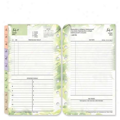 Pocket Blooms Ring-bound Daily Planner Refill - Jul 2012 - Jnu 2013