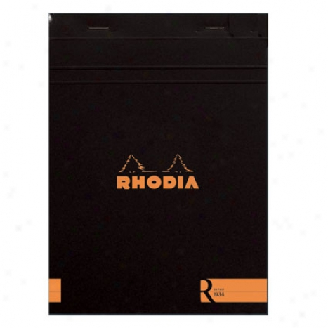 Premium Stapled Lined Notepad 6 X 8 1/4 By Rhodia - Black