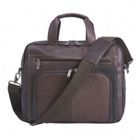 Reaction Kenneth Cole Ot Of The Bag Leather Expandable Laptop Bag - Brown