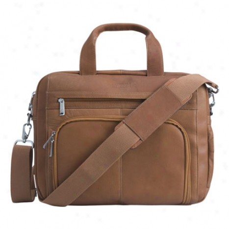 Reaction Kenneth Cole Out Of The Sack Leather Expandable Laptop Bag - Tan