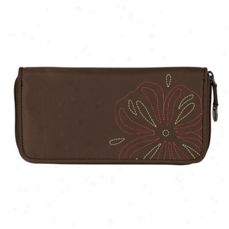 Rfid Blocking Ladies Wallet -  Brown Nylon
