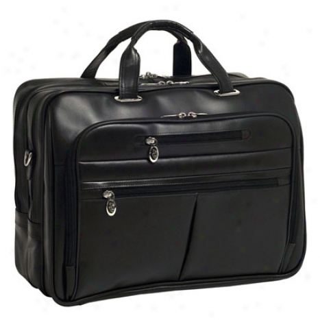 Rockford Leather Fly-through Checkpoint-friendly 17 Inch Laptop Case By Mcklein - Black